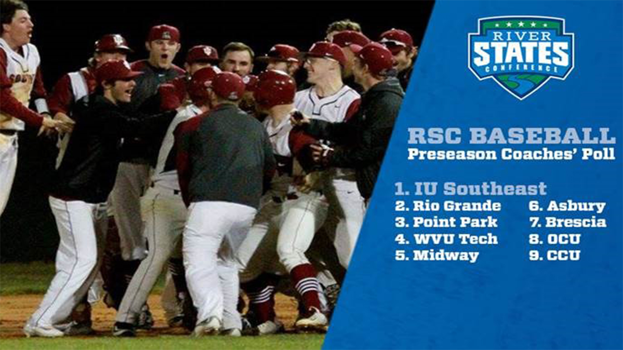 Photo for IU Southeast is the favorite in the 2017 River States Conference Baseball Preseason Coaches' Poll revealed at RiverStatesConference.com on Tuesday (N